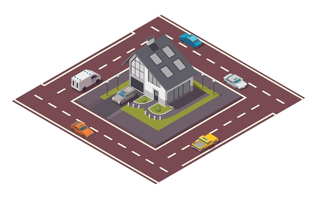 Isometric cottage. building of private real estate for infographics or game design. home with road
