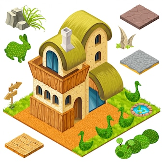 Isometric cottage and bushes in forms of animals