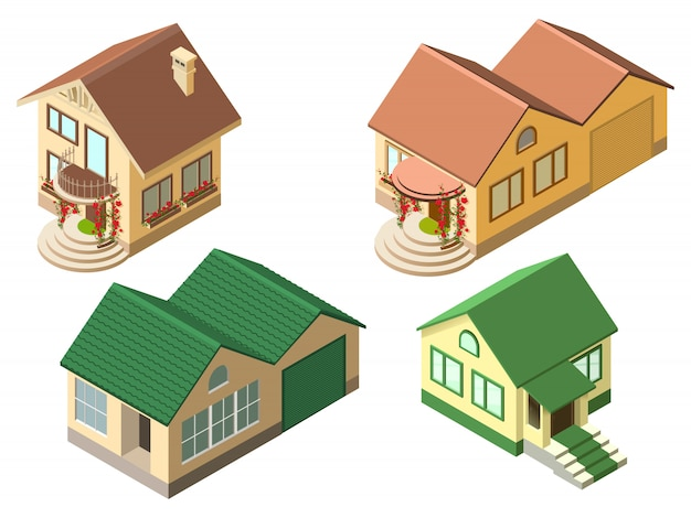 Isometric cottage country house set isolated on white illustration