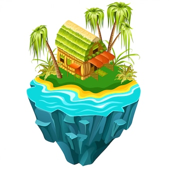 Isometric cottage on island in sea.