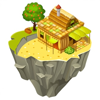 Isometric cottage on sandy island.