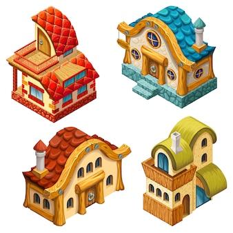 Cottage isometrici per giochi per computer.