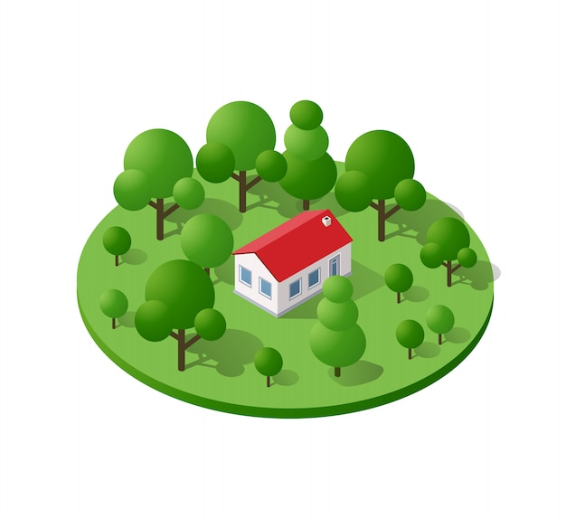 Isometric country farm trees natural forest