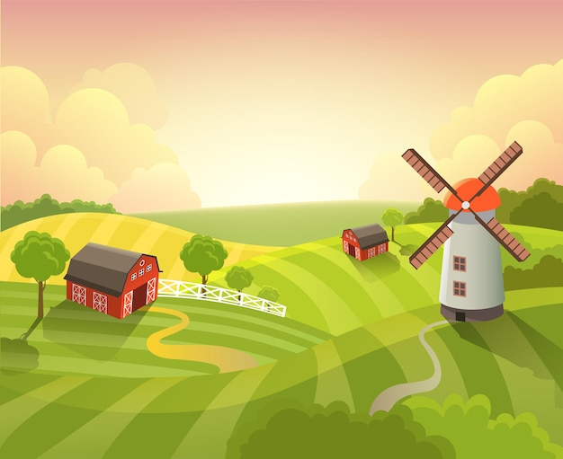 Isometric countryside farm grassy field meadow scenic landscape dawn sunrise sunset daylight