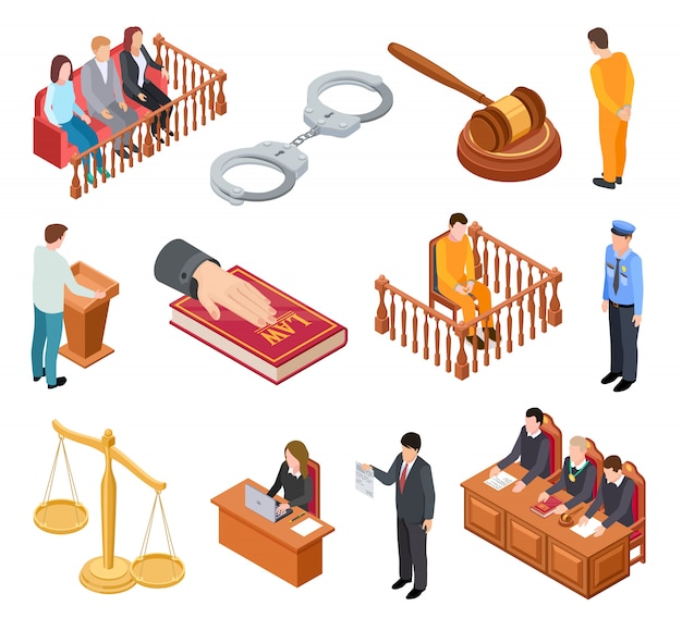 Isometric court of law. trials defendant witness interrogation jury judge justice accused lawyer criminal legal prisoner  icons