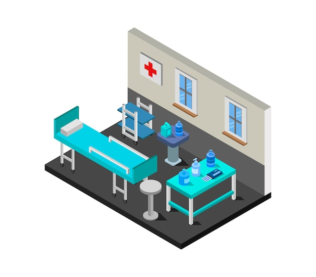 Isometric covid hospital room