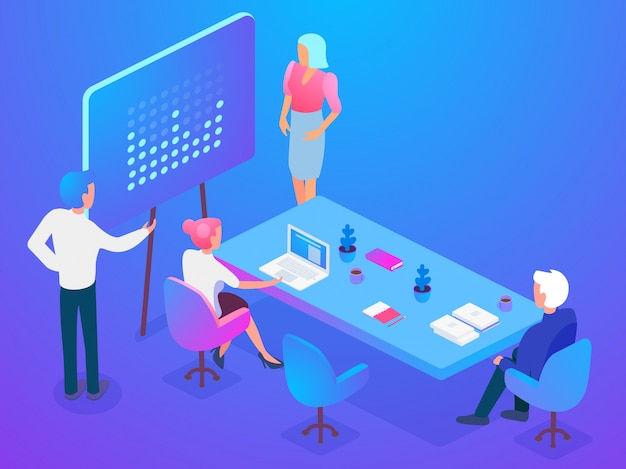 Isometric coworkers attending business presentation while working on project in office together.