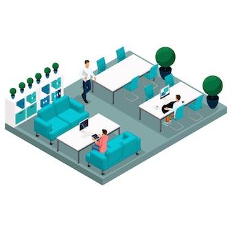 Isometric coworking center illustration