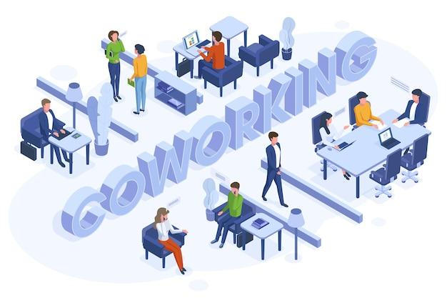 아이소메트릭 공동 작업 개념입니다. 프리랜서 비즈니스 사람들은 열린 사무실 공간 벡터 삽화에서 일합니다. 코워킹 3d 환경 공간