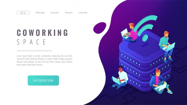 Isometric coworking space landing page.