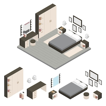 Isometric create a bedroom, scene creator set