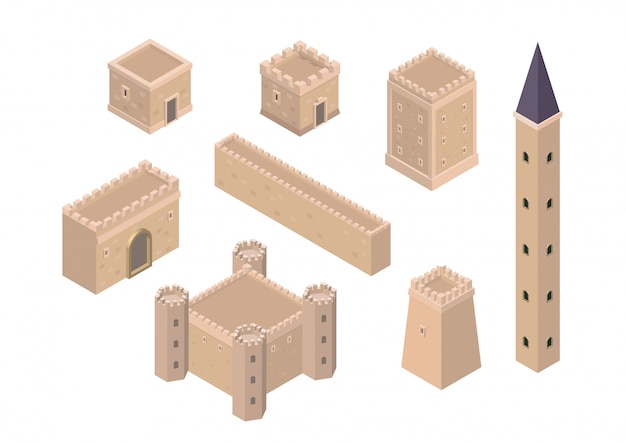 Isometric creation kit of medieval buildings