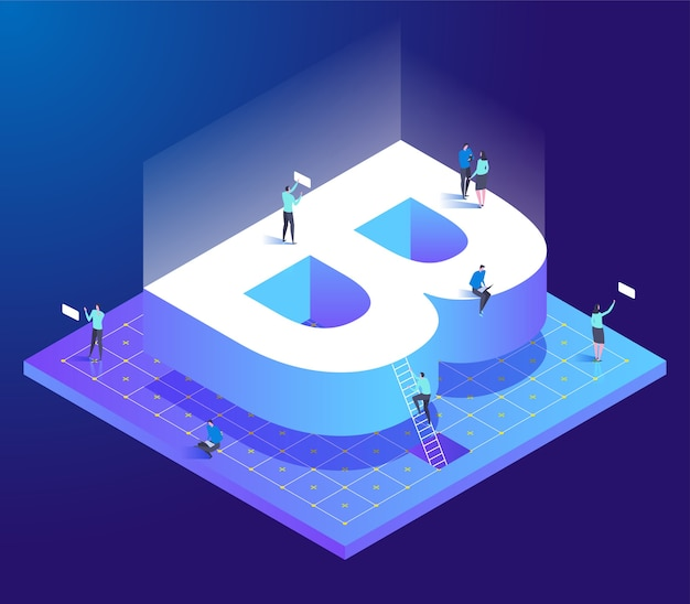 Isometric creative font with letter b and small people