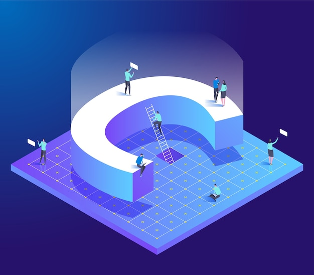Isometric creative font with letter c and small people