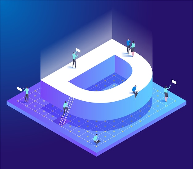Isometric creative font with letter d and small people