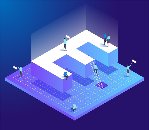 Isometric creative font with letter e and small people