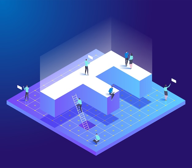 Isometric creative font with letter f and small people