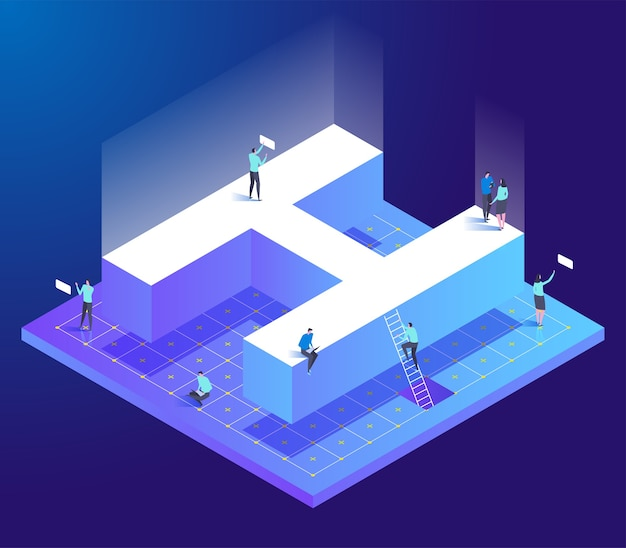 Isometric creative font with letter h and small people