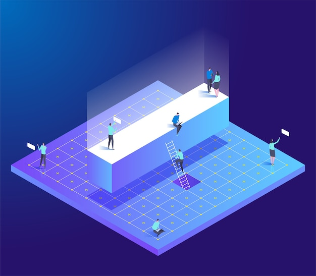 Isometric creative font with letter i and small people