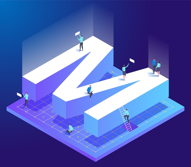 Isometric creative font with letter m and small people