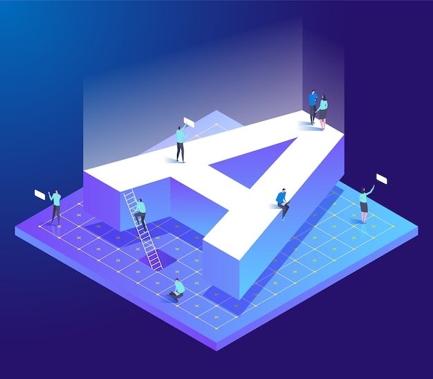 Isometric creative font with letter a and small people