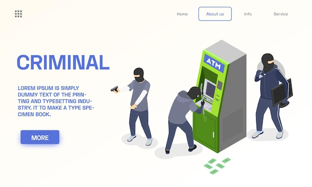 Isometric criminal landing page template