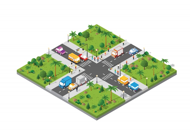 Изометрические перекрестки пересечения улиц с людьми