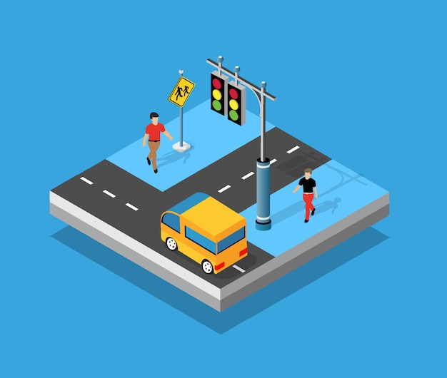 Isometric crossroads intersection of streets of highways