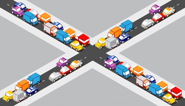 Isometric crossroads intersection