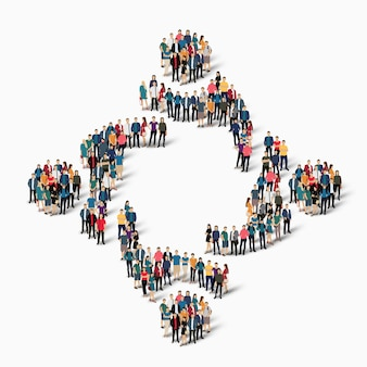 Isometric crowded people in people hugging shape