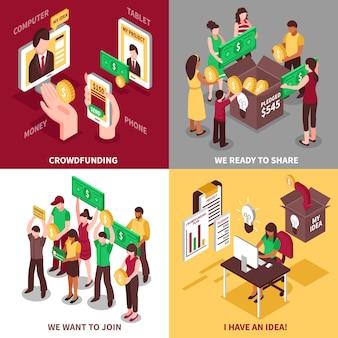 Isometric crowdfunding 2x2 concept