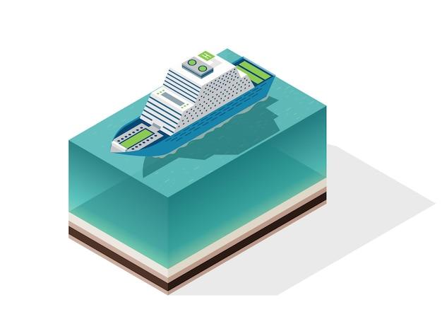 等尺性クルーズ船。水による旅客輸送。ベクトルアイソメアイコンまたはインフォグラフィック要素。海上輸送