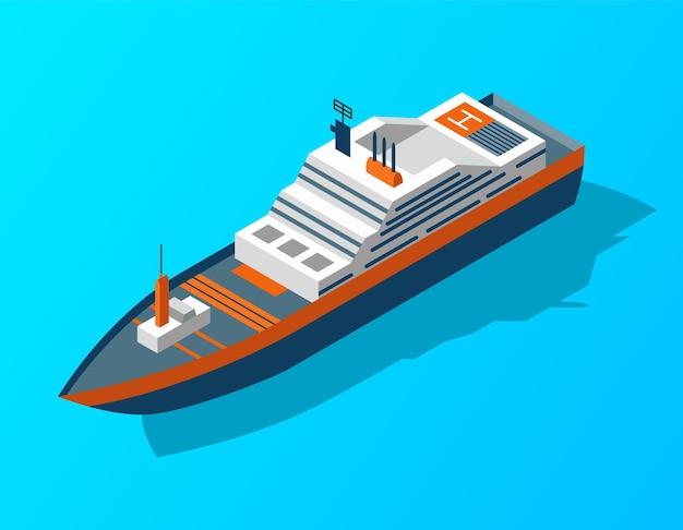 等尺性クルーズ船。水による旅客輸送。ベクトル等尺性アイコンまたはインフォグラフィック Premiumベクター