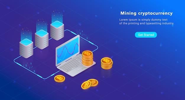 Изометрическая концепция cryptocurrency и blockchain. ферма для добычи биткойнов. цифровые деньги