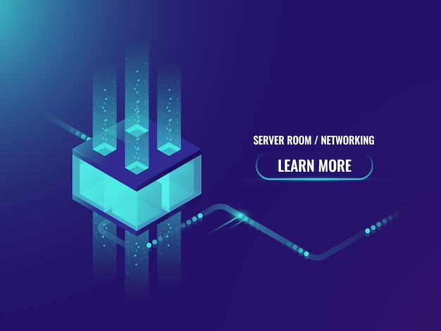 Isometric cryptocurrency and blockchain concept banner, processing of big data