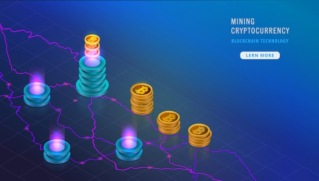 Isometric cryptocurrency blockchain mining concept, bitcoins