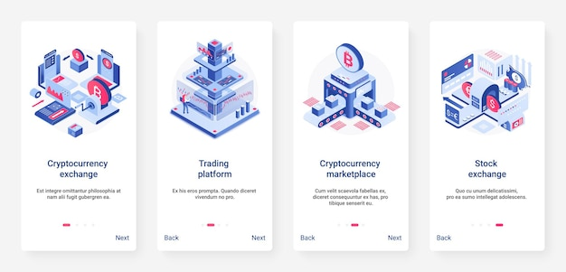 Isometric cryptocurrency exchange trading platform ux ui mobile app page screen set