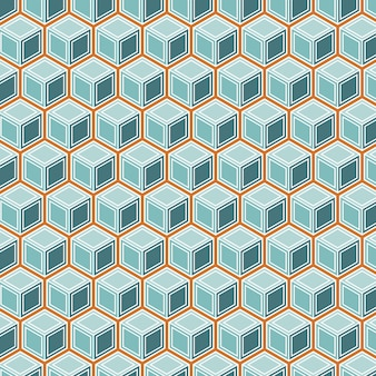 Isometric cubes seamless pattern