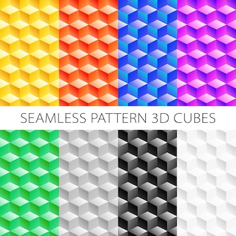 Isometric cubes set, elements games. seamless pattern.