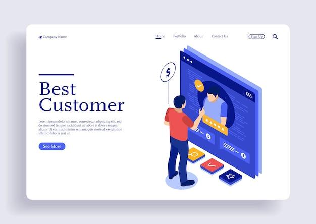 Изометрическая концепция поддержки клиентов для целевой веб-страницы