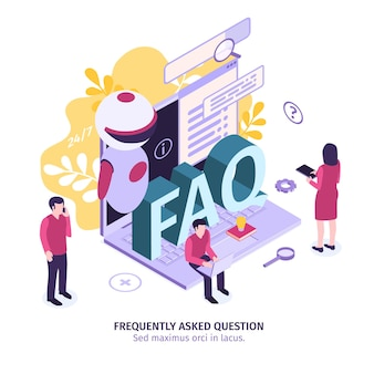 Isometric customer support faq composition with editable text gear icons and small people with laptop