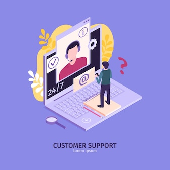 Isometric customer support faq composition with laptop computer and mail envelope