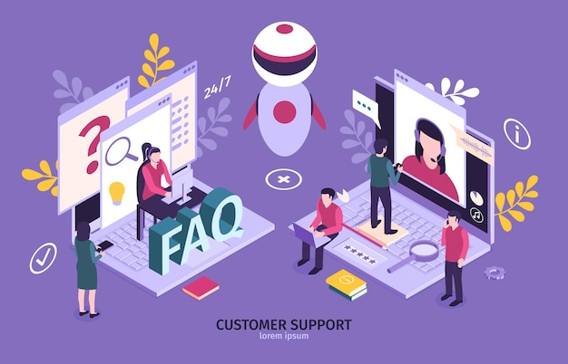Isometric customer support faq horizontal composition with images of robot laptop computers and small people characters