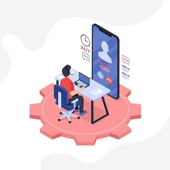 Изометрическая иллюстрация службы поддержки клиентов