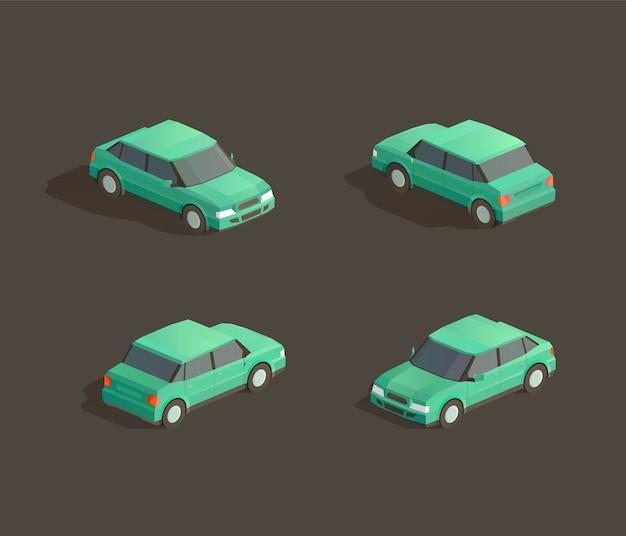 Isometric cute green sedan illustration
