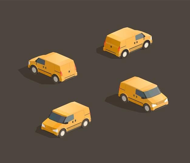 Изометрические милый желтый минивэн иллюстрация