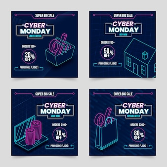 Isometric cyber monday instagram posts collection