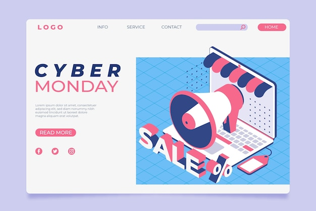 Isometric cyber monday landing page template