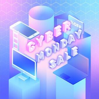 Isometric cyber monday sale background