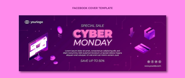 Isometric cyber monday social media cover template